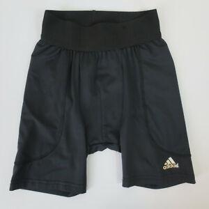 Adidas Slider Shorts Boys Size XS Black Climalite Triple Stripe Performance