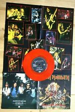"""EX/EX IRON MAIDEN HALLOWED BE THY NAME POSTER SLEEVE 1993 7""""  RED VINYL"""