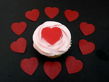 35 x *PRE-CUT* VALENTINE RED HEART EDIBLE CUP CAKE RICE WAFER PAPER TOPPERS