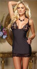 Sexy Black Strips Lingerie Sleepwear Nightwear Gown Babydoll G String USA SELLER