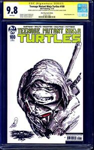 TMNT #100 VARIANT CGC SS 9.8 signed RONIN SKETCH by Johnny Desjardins TURTLES