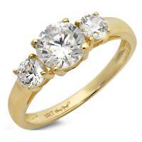 1.6ct Round 3Stone Engagement Wedding Bridal Anniversary Ring 14k Yellow Gold