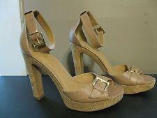 Nine West Tan Leather Cork Platform Open Toe Sandals Ankle Strap Gold Buckles 10