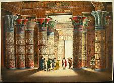 Jean Torton Jeronaton Pharaon dans un temple Pharaoh Egypte Egypt Gouache Paint