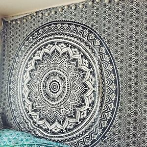 Indian Mandala Tapestry 100%Cotton Bohemian Bedspread Wall Hanging Tapestries