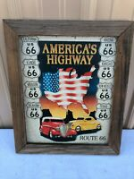 Vintage Route 66 Americas Highway Rustic Tin Metal Classic Hot Rod Auto Sign