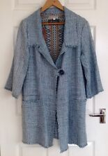 Quality Ladies Linton Tweed Jacket In Pale Blue, Size M - 12/14