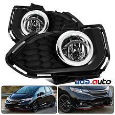 [GLASS LENS] Fit 2018 2019 Honda Fit Chrome Bumper Fog Lights+Wiring&Switch Kit