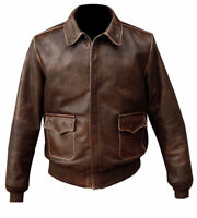 MEN'S AVIATOR A-2 FLIGHT DISTRESSED BROWN REAL BOMBER LEATHER JACKET