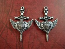 Oxidized Silver Plated Winged Heart Dagger Casting Charms (2) -SOSGK306