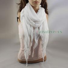 Fashion Women Pom-Pom Floral Lace Tassel Solid Wool Long Scarf Ladies Shawl Wrap