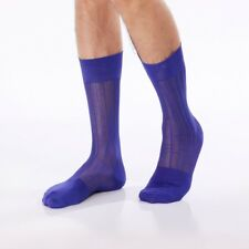 Purple Sheer Nylon Socks With Straight Line Pattern. Mid Calf Length.