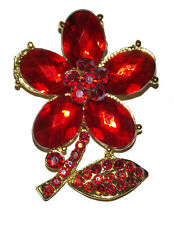 Pin Brooch wedding party #16 New red gold flower Rhinestone Crystal