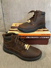 NEW With Box Genuine Skechers Mens Brown Leather Segment Garnet Boots Size UK 9