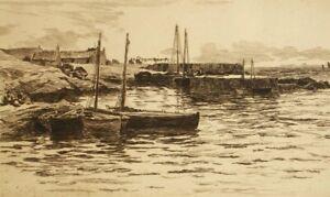 Antique sepia etching 'Banffshire, Scotland' Colin Hunter 1880