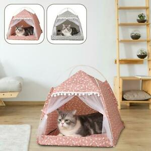 Pet Cat Dog Kitten Small Dog Teepee House Summer Breathable Tent Cave Bed Kennel