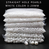 3-20mm white Round spacer acrylic pearl sew on beads craft beaded jewelry making