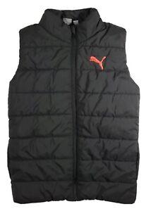 Boys Medium puma full zip puffer vest black