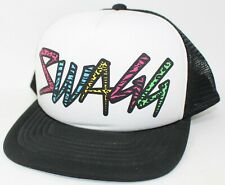 Swagg 90s colors  Black white Foam trucker mesh back Hat Cap Snapback