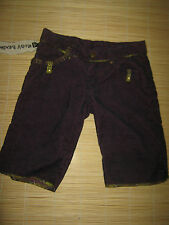 NEW Designer Ruby Jeans maroon black corduroy SHORTS size S (8)