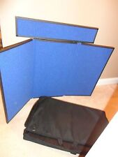 Featherlight Quartet Show 3 Panel Exhibition Dsplay Easel Blue Fabric Carry Case