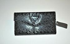 Guess Women Wallet Black Embossed Tri Fold Organizer Clutch Black Interior NWT