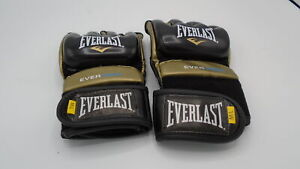 Everlast Everstrike M/L Light Bag MMA Grappling Training Gloves, Black and Gold
