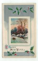 Antique Embossed New Years Post Card Silver Foil Holly River Winter Sunset