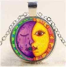 Cute Sun and Moon Face Cabochon Glass Tibet Silver Chain Pendant Necklace