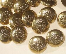Set 15 FANCY Vintage Antiqued Gold Tone Buttons RELIEF HAMMERED