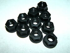 10 M6 10mm METRIC BLACK PLASTIC NYLON FULL NUTS WASHER FACED FLANGED INTEGRATED