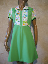 CHIC VINTAGE TOP ROBE POP 70s DRESS VTG MOD SCOOTER ANNEES 70  (36/38)