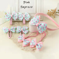 7pcs Korean Headwear Set Children Printing Dot Bow Hair Bands Headband Hair Clip