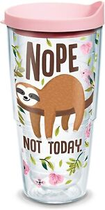 Tervis Sloth Nope Not Today Insulated Tumbler w/Wrap & Pink Lid, 24 oz, []