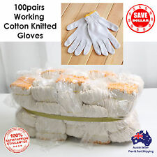 100pairs Working Safety Gloves Cotton Heavy Duty Knitted Purpose Gardening Handy