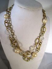 "36"" Long Necklace Gold Tone Chain Faux Pearls Clear Acrylic Beads Lobster Clasp"