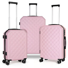 3 Piece Set HardShell 360 Spinner Luggage Set for Carry-On Checked & Travel,Pink