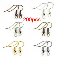 200PCS/Bag Earrings Hook Clasp Ear Hook Wire Bead DIY Jewelry Making Findings TS