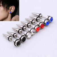 2Pc Punk Cool Gothic Men's Crystal Stainless Steel Ear Stud Earrings Spike vogue