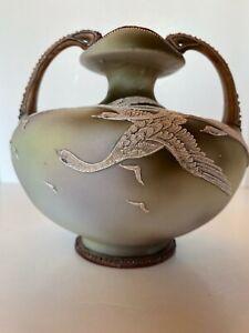 Hand Painted Nippon Moriage Swan / Geese Handled Vase