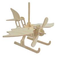 3D Wooden Puzzle Wood Crafts Jigsaw Toys Model DIY Conctruction Kit Seaplane