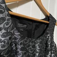 Evan Picone Black Label Women's Black Silver  Dress size 8 Sleeveless EUC Shiny