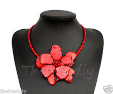 Large Turquoise coral beaded flower necklace with earrings set Christmas gift
