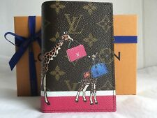Auth New Louis Vuitton Christmas Animation Girrafes Passport Cover Wallet 2017