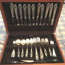 FRANK SMITH- WOOD LILY-STERLING FLATWARE-SERVICE FOR 12 (80 SS-17 PLATE- 97PCS)