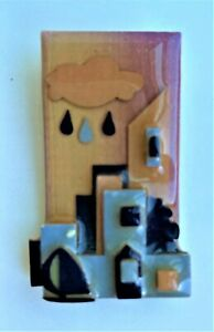 House Pins by Lucinda – Buildings and Sailboat with Rain Cloud