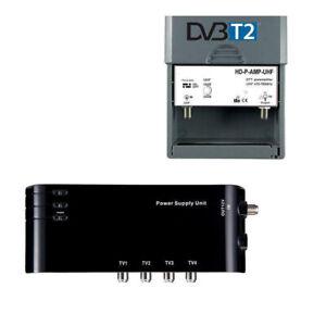 KIT Préamplificateur TNT DVB-T : amplificateur + alimentation antenne rateau