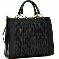 Women Handbags Faux Croco Fold Leather Satchel Tote Shoulder Bag Medium Purse