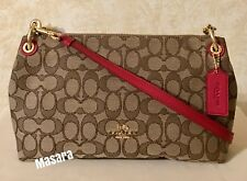 Women Coach Outline Signature Charley Crossbody Purse Khaki/Red MSRP $175