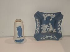 Wedgewood style Small Vase And Square Ashtray